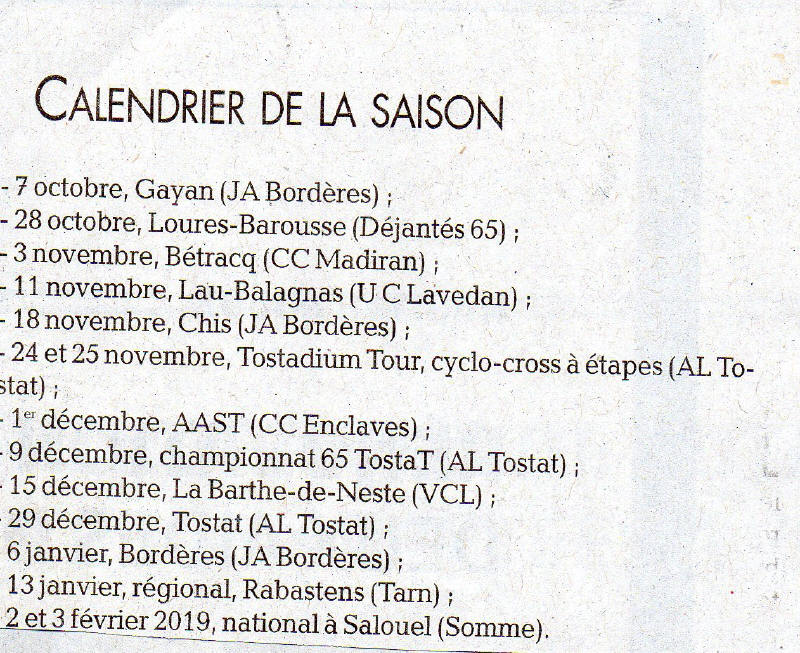 Calendrier cross